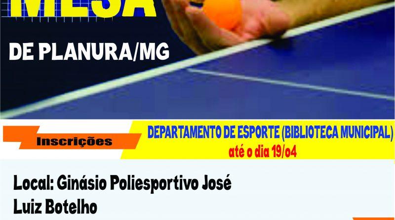 1° Torneio de tênis de mesa.